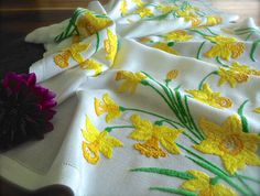 Check out this item in my Etsy shop https://www.etsy.com/uk/listing/476073637/beautiful-hand-embroidered-daffodils