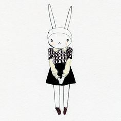 Fifi Lapin  The sophisticated clothing mixed with the untraditional bunny model makes these sketches stand out. It gives a fun feel to what could of been an ordinary sketch.  The quirkiness of the bunny makes this so much more than just a sketch of an outfit.
