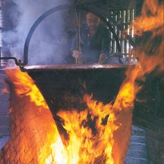 Fire comes into play. During the heating process, the curds sink to the bottom of the cauldron and form a single mass.
