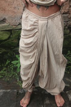 For the Desert Gypsy at heart, these are traditional handwoven organic cotton Dhoti pants from the middle eastern desert lands in Israel. Super comfortable and well made. Natural fibers vary in shades