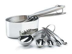 Cuisipro Stainless Steel Measuring Cup and Spoon Set by Cuisipro. $47.90. Measurements are permanently stamped on spoon handles. Spoons feature handles that curl under, spoons will sit on the counter without tipping over. Oval shape with straight sides allows you to scoop ingredients easily from narrow containers, canisters or spice jars. Set includes four measuring cups: 1/4 cup, 1/3 cup, 1/2 cup, 1 cup and 5 measuring spoons:1/8, 1/4, 1/2, 1 tsp, and 1 tbsp. Made of ...