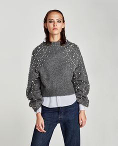 CROPPED SWEATER WITH FAUX PEARLS