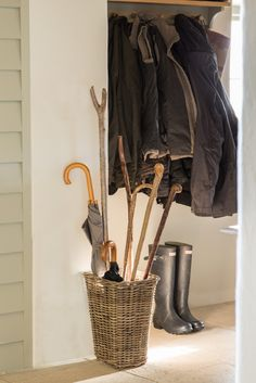 Organise Your Entrance Hall. With everyone in and out of the house, in sometimes wet and mucky weather it helps to organise space for coats, shoes and umbrellas. This will make getting out in the morning so much easier and save your floors! Country Lifestyle, Entrance Hall, Rustic Chic, Interior Accessories, Storage Baskets, Decoration, Sweet Home, Farm Barn, House Design