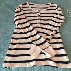 J crew waffle Henley Cream with navy stripe waffle design with gold buttons. J crew Tops