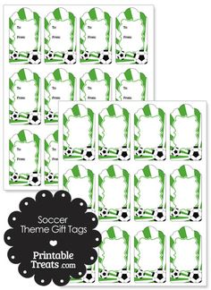 Green Sunburst Soccer Party Gift Tags from PrintableTreats.com