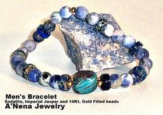 Mens Bracelet  Sodalite Quartzite and Imperial by ANenaJewelry, $65.00