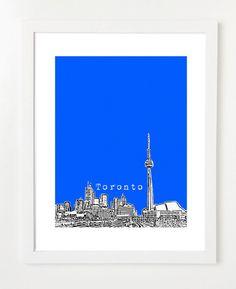 79cb1cc5e70 Toronto Skyline - Toronto Ontario City Art Print Poster - Toronto Canada -  VERSION 1