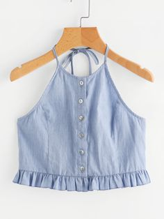 Shop Button Placket Frilled Hem Chambray Halter Top at ROMWE, discover more fashion styles online. Trendy Outfits, Summer Outfits, Girl Outfits, Cute Outfits, Fashion Outfits, Blouse Neck Designs, Western Dresses, Trendy Tops, Cami Tops