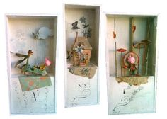 Boxes created by Miss Clara   from his designs for paper Three Little Pigs to be published SCARABEA   to admire the breath,   the Three Owls at Bon Marché