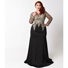Plus Size Black Sheer Sleeve Embellished Long Dress ($278) ❤ liked on Polyvore featuring plus size women's fashion, plus size clothing, plus size dresses, black, long evening dresses, gold plus size dress, long ball gowns, long dresses and plus size long dresses