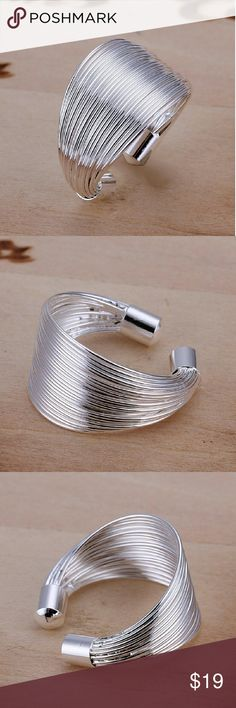 🆕WOMENS RING🆕 Ring set in many hoops  gorgeous ring .925 silver plated white copper alloy Jewelry Rings