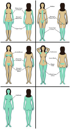 Clearstone Illustration Guide for Laser Hair Removal for brazilian, bikini, legs, underarms and other frequently requested treatment areas