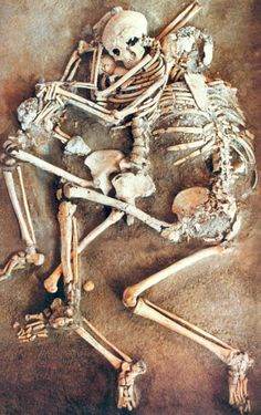 Skeletons found in situ in a Roman house in Kourion, Cyprus, by David and Noelle Soren in the mid-1980s include a family killed in the earthquake that struck in 365 A.D. The mother cradles an infant in her arms as the the father tries to protect them both from the falling debris.