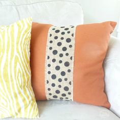 Two Minute Burlap Embellished Fall Pillows thumbnail at thehappyhousie