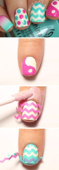 Summer Skittle Nails Manicure | 18 Easy Summer Nails Designs for Summer | Cute Nail Art Ideas for Teens