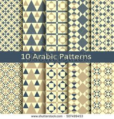 set of ten seamless vector traditional geometric arabic patterns