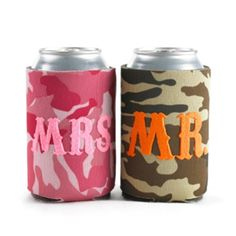 """Cloth Mr & Mrs Camo Can Coolies are green camo cooler with orange """"Mr."""" design and pink camo cooler with bright pink """"Mrs. Hold standard cans. Set of two. Wedding Koozies, Gifts For Wedding Party, Party Gifts, Wedding Ideas, Wedding Stuff, Wedding Invitations, Wedding Inspiration, Camo Wedding Decorations, Invitations Online"""