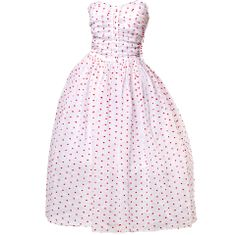 1stdibs   Vintage 1950's Strapless Sweetheart Polka Dotted Party Dress