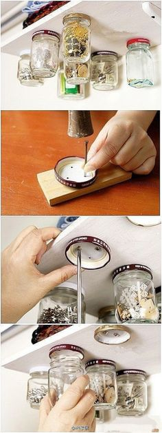 Screw jam jar lids to the underside of shelves and then screw the glass jars into place to hold buttons, notions and other small items.