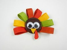 So easy! You can also add more ribbon to make it into a hair bow. : So easy! You can also add more ribbon to make it into a hair bow. Ribbon Hair Clips, Diy Hair Bows, Diy Bow, Ribbon Bows, Ribbon Flower, Hair Ribbons, Flower Diy, Thanksgiving Hair Bows, Thanksgiving Turkey