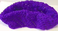 Hand knitted cowl, lace pattern, purple sparkly double knit weight neck warmer by WoollySpinners on Etsy