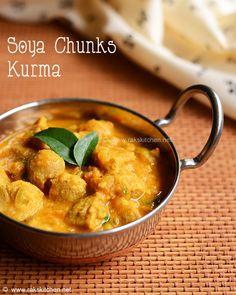 chunks kurma Soya chunks kurma recipe with soya nuggets a healthy ingredient!Soya chunks kurma recipe with soya nuggets a healthy ingredient! Pineapple Recipes Indian, Indian Food Recipes, Gourmet Recipes, Vegetarian Recipes, Healthy Recipes, Ethnic Recipes, Curry Recipes, Soya Recipe, Kurma Recipe