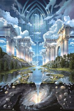 John Stephens visionary art … the world is a temple to love, to preserve - Education Fantasy Artwork, Fantasy Art Landscapes, Fantasy Landscape, Landscape Art, Landscape Grasses, Creative Landscape, Impressionist Landscape, Watercolor Landscape, Landscape Paintings