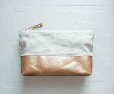 ESSENTIAL Make Up Case.  Linen and Leather Cosmetic Case. Leather Make Up Bag. via Etsy