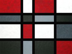 Abstract Red Painting Black Art Gray White Geometrical Modern Conempary Large Canvas - A Full House