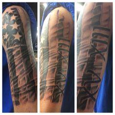 Black and white american flag half sleeve and Roman numerals tattoo #blackandwhite #halfsleeve #halfsleevetattoo #americanflag #americanflagtattoo #americanflaghalfsleevetattoo