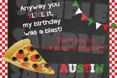 Printable Pizza Party Thank You Card (Digital File Only)