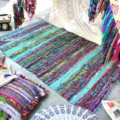 Inexpensive Blue Woven Rag Rug Meditation Mat