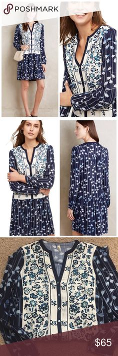 ANTHROPOLOGIE Embroidered Semele Shirtdress Tiny NWOT. Very Pretty embroidered dress. Flowy and casual. Brand New, Never Worn. Rayon Side pockets Button placket Hand wash Best seller from Anthro Anthropologie Dresses Midi