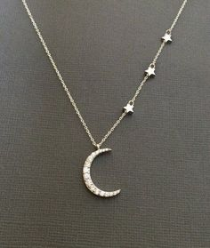Silver Crescent Moon collier de Star, Star et Moon bijoux, collier, croissant de la lune, de superposition, je t