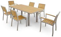 Ivy Terrace Basics 7-PC Teak Dining Set - 1 Teak Table, 4 Teak Chairs, and 2 Teak Armed Chairs.