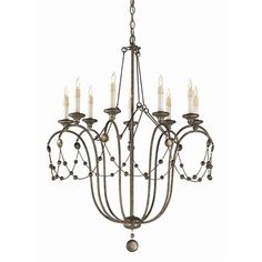 Possible Entry Fixture: Devon Chandelier #89305 Devon Chandelier H: 38in Dia: 29in 9-light iron chandelier is draped with chains of hammered beads. Supporting rods and graceful iron arms are in an antiqued silver leaf finish with dangling globe shaped finial. Candleholders mimic real candles with a dripping wax design. MSRP: $ 2310.00
