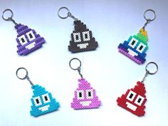Emoji Poo Keyrings Hama Bead NEW Handmade UK