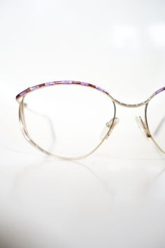 f28e337d4ef 1980s Oversized Glasses - Metallic Gold and Purple Eyeglasses - Oversize  Womens Optical Frames - Hugely Oversized Frames