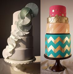 LoVe the cake on the right...   Tea for Two?