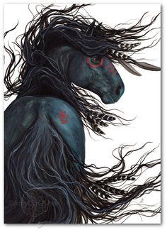 Majestic Black Stallion Native American Spirit Horse ArT - Giclee Print by Bihrle - Pferdefotos - Painted Horses, Pretty Horses, Beautiful Horses, Cross Paintings, Original Paintings, Original Art, Native American Horses, American Indians, American Symbols