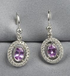 18kt White Gold, Pink Sapphire, and Diamond Earpendants