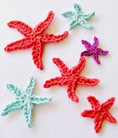 Tiny Star Fish    by Cheryl  , June 2014       Any Size Hook & Yarn          Using the Magic Circle Technique     [Chain 4, Slip Stit...