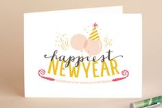 Happy Year Balloons Holiday Cards by Phrosne Ras Holiday Cards, Christmas Cards, Happy Year, Holidays And Events, Independence Day, Christmas Holidays, Balloons, Product Launch, Valentines