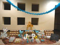 Mesa de postres para Baby shower de niño