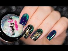Double stamping nail art + Savanna Flakies by Whats Up Nails - YouTube