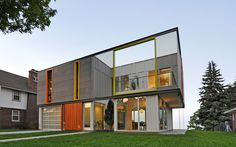 os house  I  racine, wisconsin  <   The O-S House is a small infill residence in Racine, Wisconsin, a rustbelt city epitomizing the painful urban decline of Middle America's manufacturing centers.  Commissioned by a young family, the project is one of the first LEED Platinum homes in the Upper Midwest and demonstrates how a small, sustainable residence built with a moderate budget can become a confident, new urban constituent, a harbinger of change in a city ...