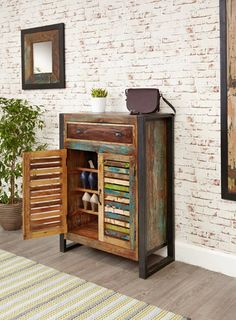 Urban Chic Shoe Storage Cupboard (with drawer) is made using reclaimed wood, salvaged from old buildings in places such as Gujarat, Maharashtra and Rajasthan Southern India. #Furniture #PriceCrashFurniture #LoungeAndLiving #Lounge #LivingRoom #Urban #Chic #Storage #Cupboard #Shoe #ShoeStorage #ShoeCupboard #Drawer http://pricecrashfurniture.co.uk/urban-chic-shoe-storage-cupboard-with-drawer.html