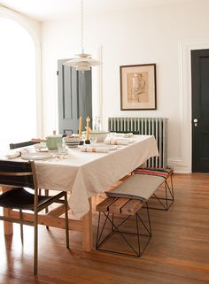 Beautiful dining room in Hudson Valley.  Styled for Thanksgiving with products from Ikea.
