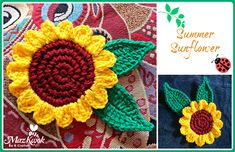 Learn to crochet a sunflower coaster or embellishment in this free crochet pattern post. Written pattern in US crochet terms.
