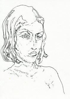 Jasper Sebastian Stürup. In The Bath. 2012. 17x12 cm. Ink on paper.